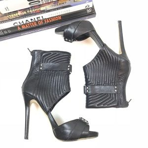 Tony Bianco Heels Leather Cut Out Ankle Black 6